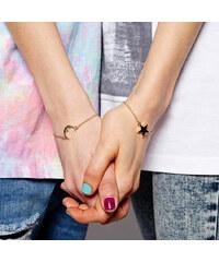 Lesara 2er-Set Freundschaftsarmband mit Mond- & Sternelement - Gold