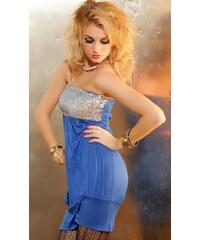 Módní šaty s flitry a páskem