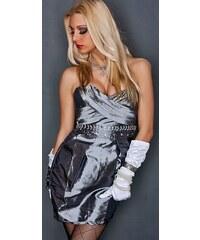 Stříbrné sexy večerní šaty