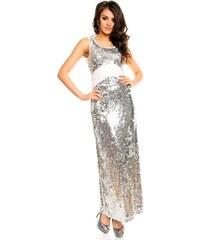 Stříbrné plesové šaty dlouhé