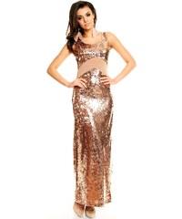 Zlaté plesové šaty dlouhé
