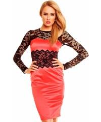 Červené saténové šaty s černou krajkou