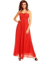 Luxusní červené dlouhé šaty Francie