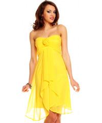 Nepřehlédnutelné žluté společenské šaty
