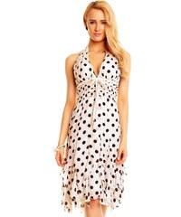 Společenské bílé šaty s puntíky