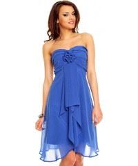 Modré plesové šaty bez ramínek