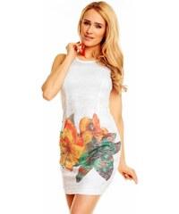 Bílé krajkové šaty s potiskem