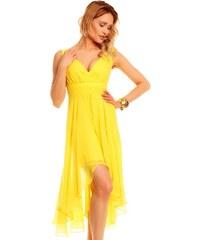 Výrazné žluté šaty do společnosti