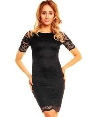 Černé krajkové šaty s rukávem