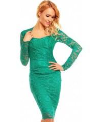 Zelené šaty do společnosti s dlouhým rukávem