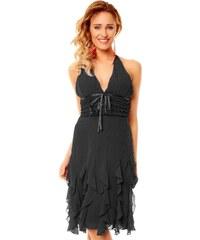 Krátké černé šaty s volánky