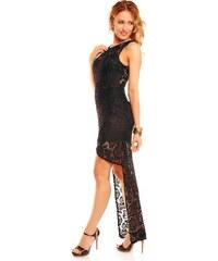 Dlouhé černé krajkové šaty na ples