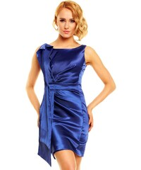 Modré saténové plesové šaty Paříž