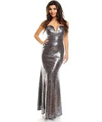 Dlouhé stříbrné plesové šaty