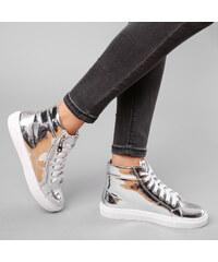 Lesara High-Top-Sneaker Metallic - 36