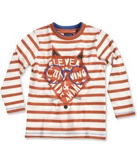 Blue Seven Dětské proužkované tričko s liškou - oranžovo-bílé