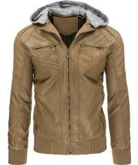 Coolbuddy Pánská bunda z ekologické kůže s odepínací kapucí 8997 Velikost: L