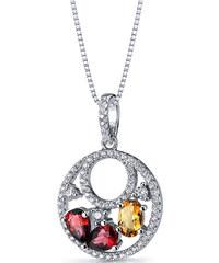 Eppi Stříbrný náhrdelník s granáty a citrínem Kamy