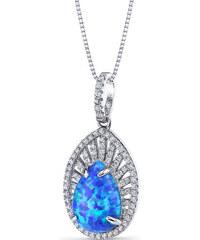 Eppi Stříbrný náhrdelník s opálem a zirkony Naria