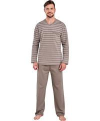 Regina Hřejivé bavlněné pánské pyžamo Pavel hnědé