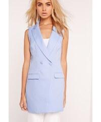 MISSGUIDED Blankytně modrá vesta na knoflíky