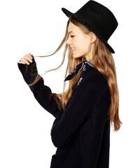 HUSH HUSH Panama černý klobouk s pleteným páskem