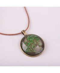 Lesara Halskette mit Gräserblüten-Medaillon - Grün