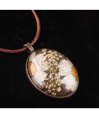 Lesara Halskette mit Blütenmix-Medaillon - Weiß