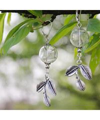 Lesara Ohrhänger mit Pusteblumen-Glaskugel & Blatt-Anhänger