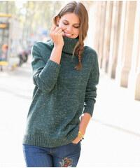 Venca Rolákový pulovr s metalickými vlákny zelená