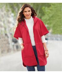 Venca Fleecový kabát s kapucí červená