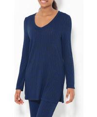 Venca Dlouhý žebrovaný pulovr s rozparky modrá