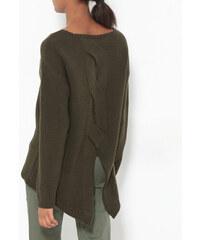 Venca Asymetrický pulovr s rozparkem vzadu khaki