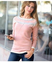 Venca Žakárový pulovr růžová