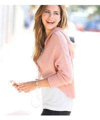 Venca Asymetrický svetr s kapucí růžová