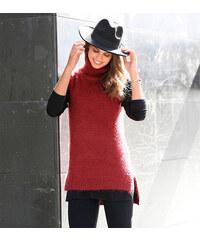Venca Asymetrický pulovr s rolákem, bez rukávů cihlová