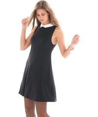 Venca Šaty s kontrastním košilovým límečkem černá