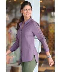 Venca Košile s ažurou a krajkou fialová