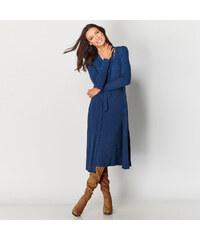 Venca Žebrované šaty se sladěným šálem modrá