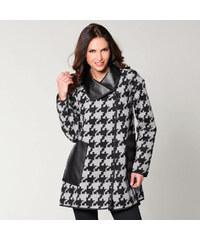 Venca Oboustranný kabát s detaily koženky dvě barvy