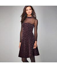 Venca Šaty s polotransparentním výstřihem černá