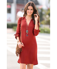 Venca Jednobarevné šaty s mao límečkem cihlová