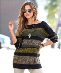 Venca Pruhovaný pulovr mohérový na dotek černá/zelená
