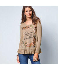 Venca Rozšířené tričko s volánem světlá khaki