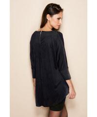 Venca Semišové šaty s efektem 2 v 1 černá