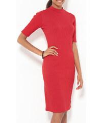 Venca Žebrované šaty se stojáčkem červená
