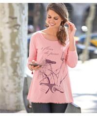 Venca Tričko s potiskem a originálním lemem růžová