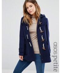ASOS PETITE - Duffle-coat en laine mélangée avec doublure à carreaux - Bleu marine