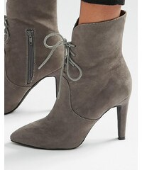 London Rebel - Bottines pointues à lacets et talons - Gris