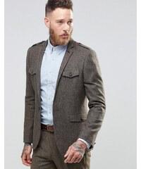 ASOS - Veste de costume cintrée en tweed style militaire - Marron - Marron
